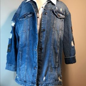 Express embroidered distressed blue jean jacket